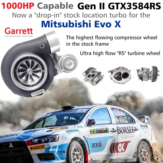 Drop-in 1000HP Capable Garrett Gen II GTX3584RS Turbocharger for the Mitsubishi Evo X